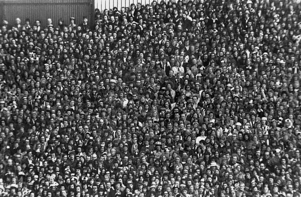 Newcastle United fans at Hillsbrough during the 1974 FA Cup semi-final