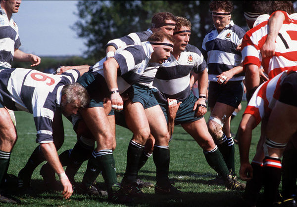 Rugby Union - 1989 / 1990 Courage League - Nottingham 12 Gloucester 3    Nottingham front-row prepare to pack down, at Ireland Avenue, Beeston