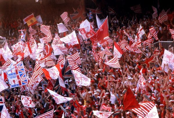 Football  Nottingham Forest fans with their flags at the Santiago BernabÃ