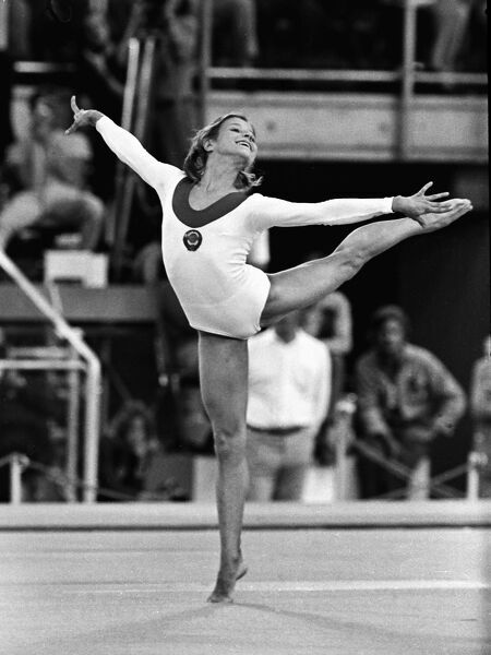 Gymnastics - 1972 Munich Olympics - Women's Floor Exercises The USSR's Olga Korbut on the way to winning gold in the floor exercises in the Sports Hall, Olympic Park, Munich, West Germany
