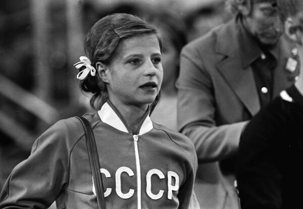 Gymnastics - 1972 Munich Olympics - Women's Individual All-Around Final An emotional Olga Korbut of the Sovviet Union after a disastrous uneven bars routine cost her a medal in the individual competition in the Sports Hall, Olympic Park, Munich, West Germany