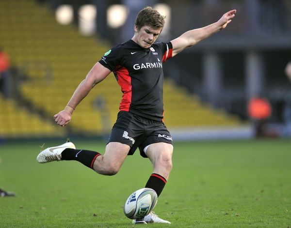 Rugby Union - Heineken Cup - Saracens vs Benetton Treviso. Owen Farrell of Saracens kicks a conversion during the Heineken Cup Pool Five match between Saracens and Benetton Treviso at Vicarage Road Stadium on November 13, 2011 in Watford, England