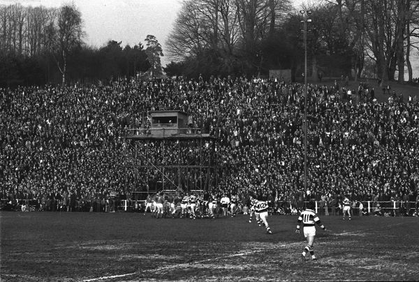 Rugby Union - 1974 / 1975 WRU Challenge Cup - Quarter-Final: Pontypool 9 Llanelli 18 The crowd watch the game from the large grass bank at Pontypool Park