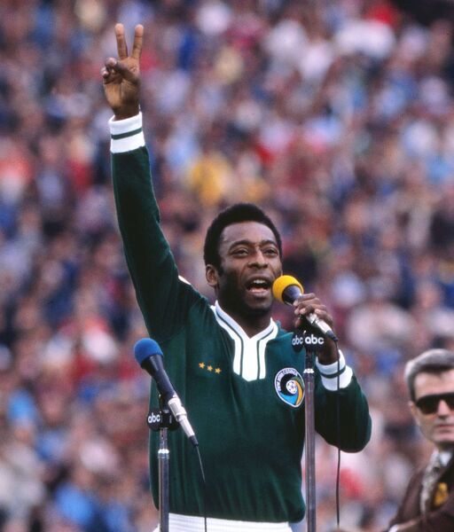 Football Pele (Cosmos) gives his farewell speech to the crowd before the kick-off at his farewell game. He asked the crowd to say 'love' with him three times, and broke down in tears afterwards. Pele's farewell game. Cosmos v Santos