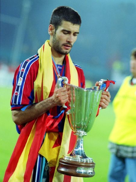 Football Josep 'Pepe' Guardiola (Barcelona) with the trophy. Barcelona v Paris St Germain.  European Cup Winners Cup Final, 13/05/1997. Credit : Colorsport / Andrew Cowie