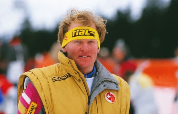 Alpine Skiing - 1987 FIS World Championships - Crans-Montana The men's Downhill gold medal winner, Switzerland's Peter Mueller, at Crans-Montana, Switzerland