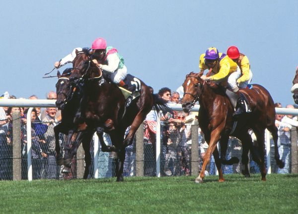 Horse Racing Pat Eddery on Placerville (Winner) leads Urban Sea (right) ridden by Cash Asmussen on her way to second place in the Prince of Wales's Stakes Royal Ascot - Ascot Racecourse 15/06/1993 Credit: Colorsport / Piran Murphy