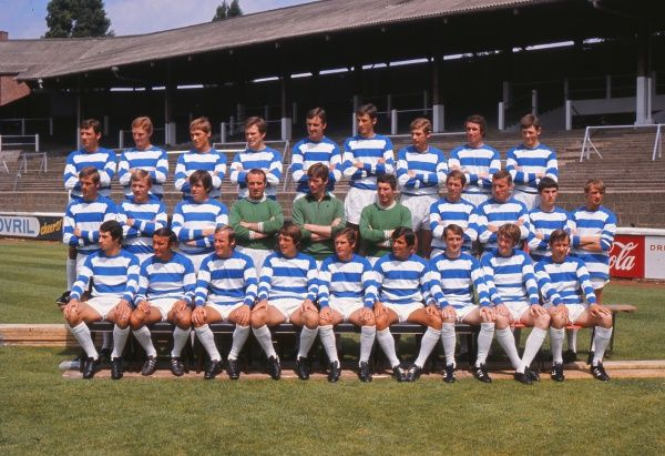 Football - 1969 / 1970 season - Queens Park Rangers photocall at Loftus Road QPR team group. Back (left to right): Bob Turpie, Alan Colman, Eddie Lane, Bobby Finch (now Cape Town City), Martin Busby, Ian Evans, Frank Sibley, Alan Wilks, Ian Gillard