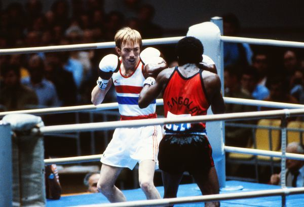 Boxing - 1980 Moscow Olympics Men's Bantamweight Round Two, Match #5 - Raymond Gilbody vs. Jose Luis de Almeida Great Britain's Raymond Gilbody on the way to defeating Angola's Jose Luis de Almeida in the Indoor Stadium of the Olympiski Sports Complex