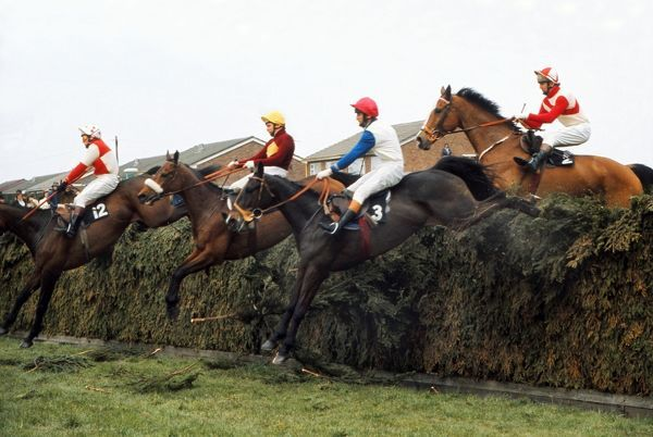 Horse Racing - Aintree - 1975 Grand National Brian Fletcher, in the yellow cap, rides Red Rum, with Southern Quest (12) ridden by S. Shields, Glanford Brig (3) ridden by M. Blackshaw, and The Dickler (2) ridden by R. Barry