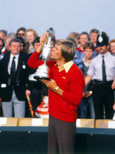 Golf - The Open Championship Bill Rogers (USA) Kisses the Open trophy