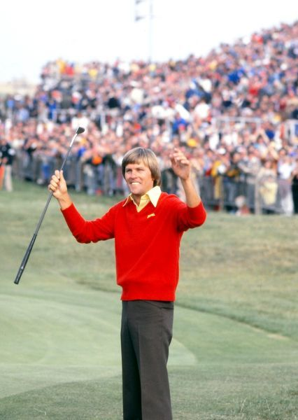 Golf - The Open Championship Bill Rogers (USA) celebrates winning the Open.  British Open Golf Championships; Sandwich, Royal St George's, Kent  19/07/1981 Credit : Colorsport