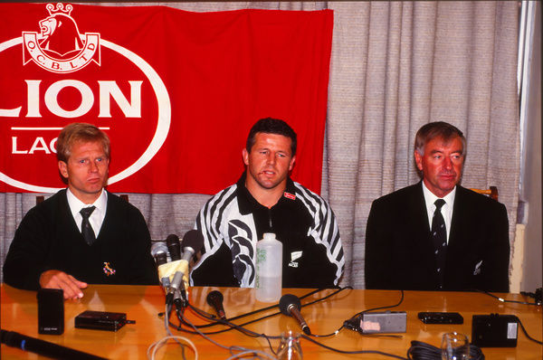 Rugby Union - 1992 All Black Tour of South Africa - South Africa 24 New Zealand 27     The two captains, Naas Botha and Sean Fitzpatrick, with All Black coach Laurie Mains, at a press conference after the game, at Ellis Park, Johannesburg