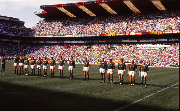 "Rugby Union - 1992 All Black Tour of South Africa - South Africa 24 New Zealand 27     South Africa players line-up before kick-off, with some joining in to sing as an instrumental version of the national anthem ""Die Stem van Suid-Afrika&quot"
