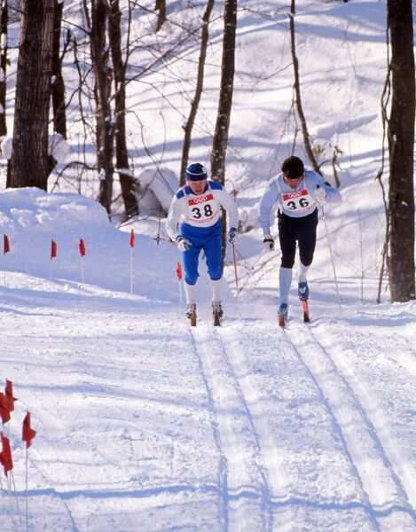 Cross Country Skiing - 1972 Sapporo Olympics - Men's 15km Finland's Osmo Karjalainen (#38) and West Germany's Gerhard Gehring (#36) at the Makomanai Cross Country Events Site, Japan. 07/02/1972