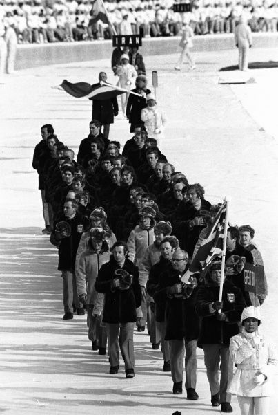 1972 Sapporo Olympics - Opening Ceremony The Great Britain team parade with their flag at Makomanai Speed Skating Rink. 03/02/1972