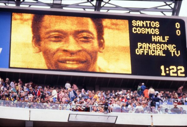 Football The Scoreboard shows Pele's face during his final game. Cosmos v Santos, Giants Stadium, New York.  01/10/1977