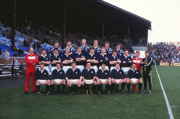 Rugby Union Scotland team group. Back: Scotland replacements:  Middle: Touch-judge, Sean Lineen, Tony Stainger, John Jeffrey, Chris Gray, Damien Cronin, Derek White, Paul Burnell, Kenny Milne, Derek Bevan (touch-judge), David Bishop (referee) Sitting