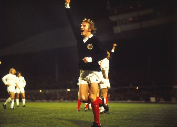 Scotland's Denis Law celebrates qualification for the 1974 World Cup