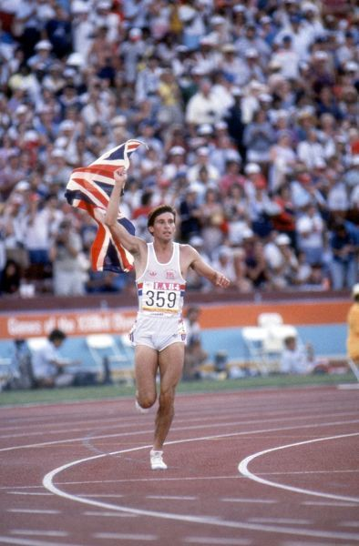 Athletics - 1984 Los Angeles Olympics - Men's 1500 metres Final Great Britain's Sebastian Coe on his lap of honour after winning gold in the Los Angeles Memorial Coliseum