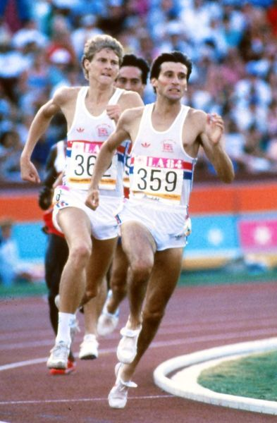 Athletics - 1984 Los Angeles Olympics - 1500m Final Sebastian Coe (#359) and Steve Cram, running for Great Britain, enter the final straight in the Memorial Coliseum, California. Coe would take the gold medal and Cram the silver
