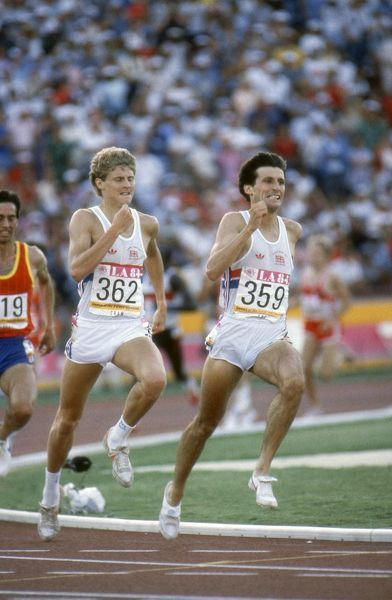 Athletics - 1984 Los Angeles Olympics - 1500m Final Great Britain's Sebastian Coe (#359) sprints off the last bend to win the race ahead of Steve Cram (#362) and Spain's Jose Manuel Abascal (#219) in the Memorial Coliseum, California