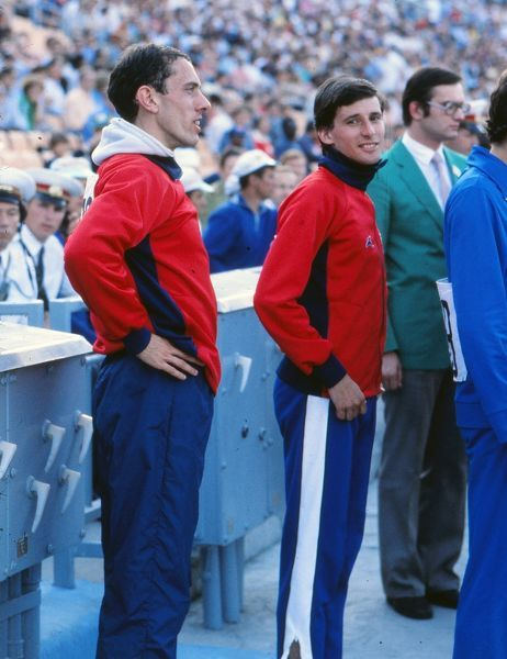 Athletics - 1980 Moscow Olympics - Men's 1500m Medal Presentation Great Britain's gold medalist Sebastian Coe, with compatriot Steve Ovett, left, who won bronze, before the medal presentation ceremony in Grand Arena of the Central Lenin Stadium