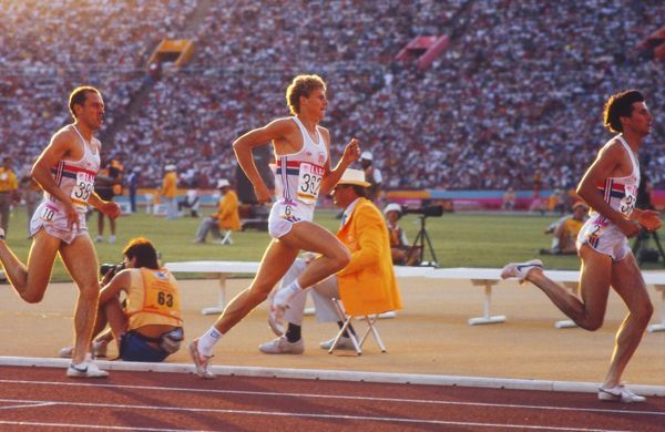 Athletics - 1984 Los Angeles Olympics - 1500m Final The three Great Britain athletes (left to right) Steve Ovett, Steve Cram and Sebastian Coe run in the early stages of the race in the Memorial Coliseum, California