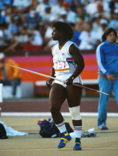 Athletics - 1984 Los Angeles Olympics - Women's Javelin Throw Final Great Britain's Sharon Gibson prepares to throw in the Los Angeles Memorial Coliseum. Gibson finished ninth