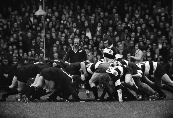 Rugby Union - 1972 / 1973 New Zealand Tour of Great Britain & France - Barbarians 23 New Zealand 11 The packs pack-down with scrum-halves Sid Going, left, and Gareth Edwards at Cardiff Arms Park. The Barbarians defeated the All Blacks for the first time
