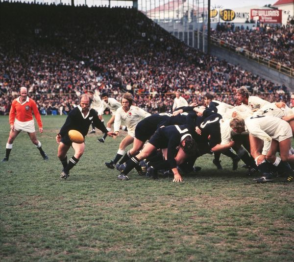 Sid Going kicks for the All Blacks against England in 1973