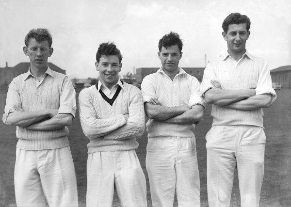 Cricket - 1956 season - Lancashire County Cricket Club photocall Left to right: Sidney Smith, Geoffrey Clayton (wicket-keeper), Edward Kelly and Freddie Goodwin