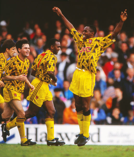 Football - 1991 / 1992 First Division - Southampton 0 Arsenal 4     Ian Wright celebrates scoring at The Dell. (l-r) Alan Smith, Anders Limpar, David Rocastle.     Wright scored a hat trick on what was his Arsenal league debut.     28/09/1991