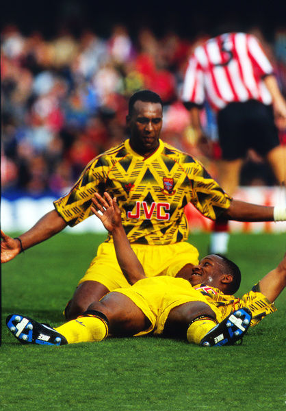 Football - 1991 / 1992 First Division - Southampton 0 Arsenal 4     David Rocastle of Arsenal celebrates with goalscorer Ian Wright, at The Dell.     Wright scored a hat trick on what was his Arsenal league debut.     28/09/1991
