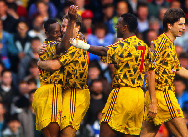 Football - 1991 / 1992 First Division - Southampton 0 Arsenal 4     Paul Merson and David Rocastle of Arsenal celebrate with goalscorer Ian Wright, at The Dell