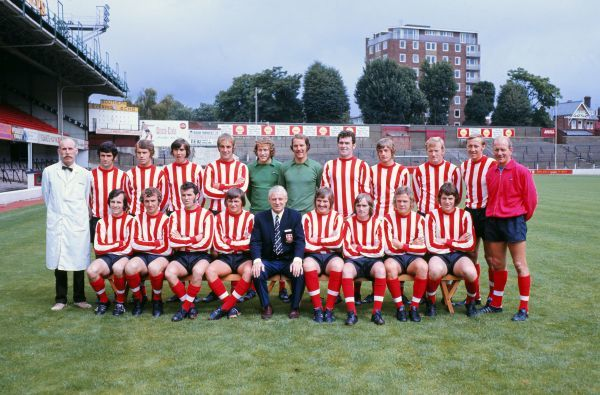 Football - Southampton F.C. Team Group 1971 / 1972 - Division One Back Row (left to right): Jimmy Gallagher (Physio), Hugh Fisher, Roger Try, Robert McCarthy, Ron Davies, Eric Martin, Alex Davie, John McGrath, Tom Jenkins, Jimmy Gabriel, Joe Kirkup