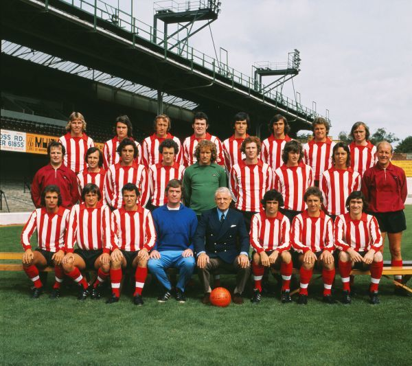 Football - Southampton F.C. First Team Squad Team Group 1973 / 1974 - Division One Back Row (left to right): William 'Bill' Beaney, A. Macleod, Joe Kirkup, John McGrath, Paul Bennett, Bobby McCarthy, Wayne Talkes, Gerry O'Brien. Middle Row: Don Taylor