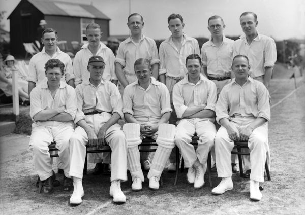 Staffordshire County Cricket Club team group 1933  Back row, l-r: E. Mayer, R. Lawton, J. S. Heath, L. E. Gale, R. H. Plant, W. H. Cocks. Front: A. Lockett, Sydney F.Barnes, H. W. Homer (captain), W. H. Ellerker, E. P. Cross  Credit: Colorsport