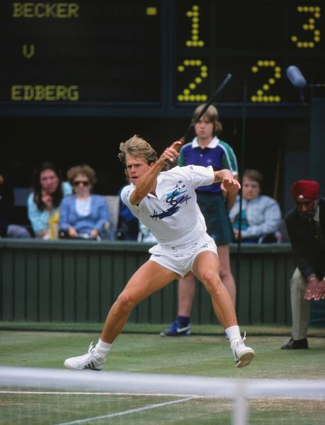 Tennis - 1988 Wimbledon Championships - Men's Singles Final Sweden's Stefan Edberg on his way to his 4-6 7-6 6-4 6-2 victory over West Germany's Boris Becker on Centre Court