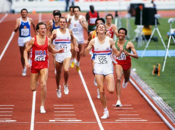 Steve Cram wins the 1500m World Championship in 1983