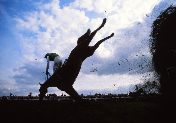 National Hunt Horse Racing - Aintree - The Grand National 1988  Peter Scudamore riding Strands of Gold falls at Bechers Brook fence