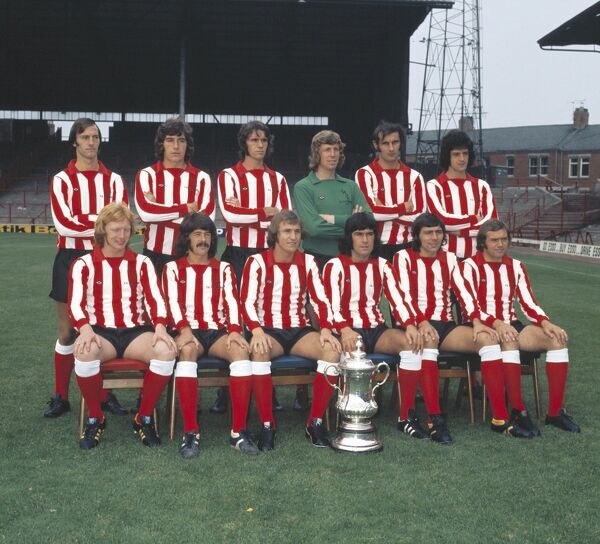 Football - 1973 Sunderland Summer Photocall Sunderland 1973 FA Cup Winning Team Group Back (left to right): David Young, Vic Halom, Dave Watson, Jim Montgomery, Dick Malone, Richie Pitt.  Front: Mike Horswill, Bobby Kerr, Dennis Tueart, Billy Hughes
