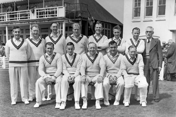 Cricket - 1955 County Championship - Leicestershire lost to Surrey by 7 wickets The Surrey team group before the game at Grace Road, Leicester, on 21/05/1955. Back (left to right): Bernard Constable, Dennis Cox (12th man), Ronn Pratt, Tony Lock