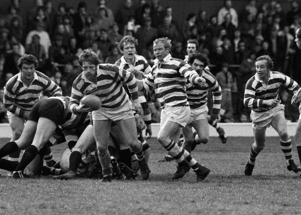 Rugby Union - 1976 / 1977 John Player Cup Final - Gosforth 27 Waterloo 11 Gosforth's Terry Roberts and Colin 'Chalky' White, right, during the game at Twickenham