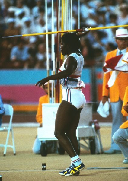Athletics - 1984 Los Angeles Olympics - Women's Javelin Throw Final Great Britain's Tessa Sanderson prepares to throw in the Los Angeles Memorial Coliseum. Whitbread won the gold medal