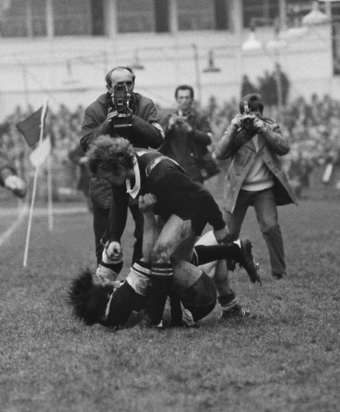 Rugby Union - 1972 / 1973 New Zealand Tour of Great Britain & France - Barbarians 23 New Zealand 11 Tom David and Grant Batty fight at the side of the Cardiff Arms Park pitch after David late-tackled the All Black winger into touch
