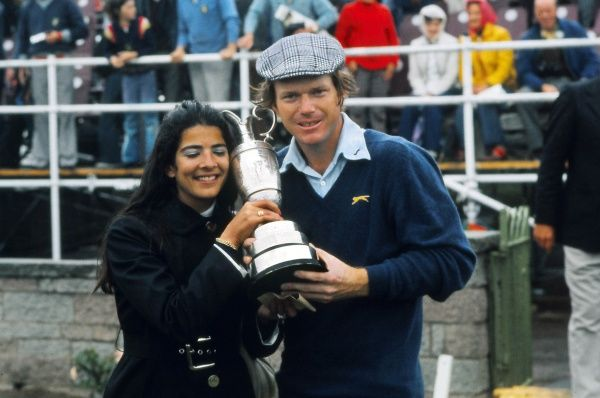 Golf - The Open Championship Tom Watson (USA) celebrates winning the Open with his wife and the trophy.  British Open Golf Championships 1975 @ Carnoustie.  12/07/1975 Credit : Colorsport