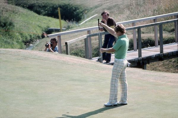 Golf - The Open Championship Tom Watson (USA) lines up a putt. British Open Golf Championships 1977 @ Turnberry