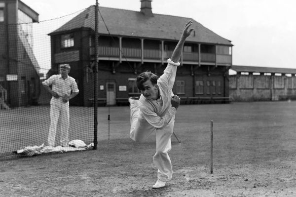Cricket - 1956 season Lancashire leg spinner Tommy Greenhough bowls in the nets at Old Trafford. He played 241 first-class matches for Lancashire between 1951 and 1966, taking 707 wickets. He played four tests for England.  10/07/1956