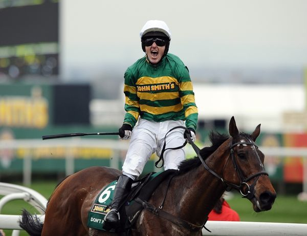 Horse Racing - Grand National Meeting - Day Three, Aintree  A P McCoy celebrates his first John Smith's Grand National win on Don't Push It